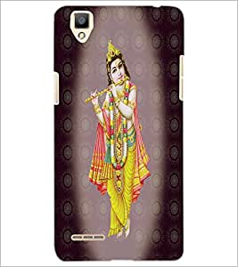 PrintDhaba Lord Krishna D-4736 Back Case Cover for OPPO F1 (Multi-Coloured)
