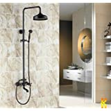 "Luxury Oil Rubbed Bronze Bath Shower Faucet Set 8"" Rain Shower Head + Hand Shower Spray"