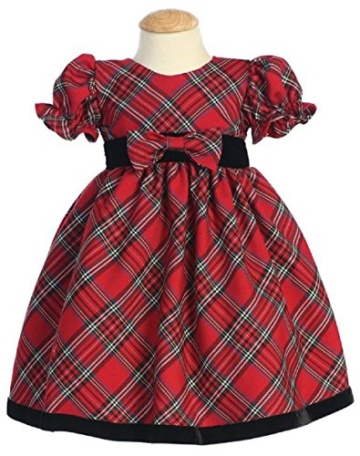 Lito Girls Plaid Holiday Dress with Velvet Trim (6 - 12 months, Red)