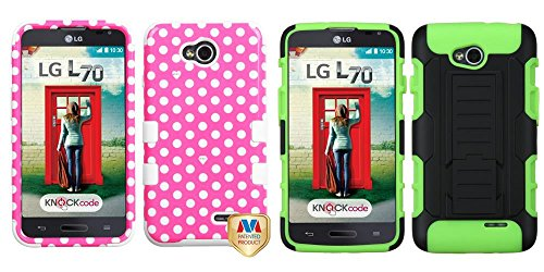 Combo Pack Mybat Dots(Pink/White)/White Tuff Hybrid Phone Protector Cover For Lg Ms323 (Optimus L70) Lg Vs450Pp (Optimus Exceed 2) And Asmyna Black/Electric Green Car Armor Stand Protector Cover (Rubberized) For Lg Ms323 (Optimus L70) Lg Vs450Pp (Optimus