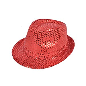 Solid Color Sequins Fedora Hat (Red)