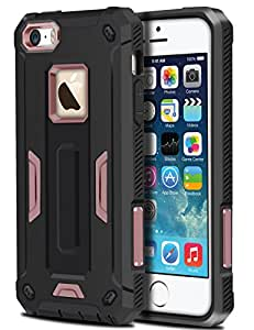 iPhone 5S Case, HianDier Rugged Anti-slip Armor iPhone SE Protective Case Hard Shell Shockproof Grip Rubber Bumper Impact Resistant Drop Protection Cover for iPhone 5/5S/SE - Rose Gold
