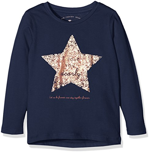 TOM TAILOR Kids basic print tshirt, T-shirt Bambina, Blu (agate stone blue), 122 (Taglia Produttore: 116/122)