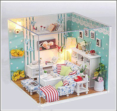 Big Dollhouse Miniature Diy Wood Frame Kit With Light Model Sweet Promise Gift Ldollhouse48-D93