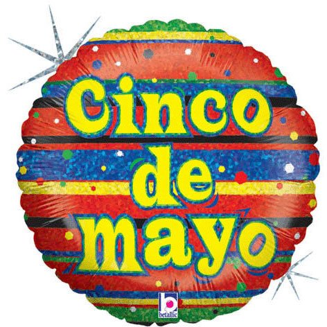Cinco De Mayo Holographic Foil Balloon