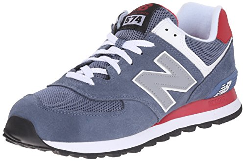 New Balance Men's ML574 Core Plus Running Shoe, Blue/Red, 10 D US