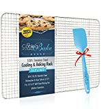 "100% Stainless Steel Wire Cooling Rack for Cooling and Baking fits Half Sheet Baking Pan - Oven Safe, Heavy Duty (11.5"" x 16.5"") - FREE Non-Stick Silicone Spatula Included!"