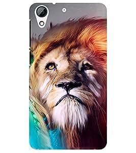 Chiraiyaa Designer Printed Premium Back Cover Case for HTC Desire 728 (Lion) (Multicolor)
