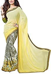 Angel Fashion Studio Women's Georgette Saree (Yellow)