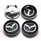 BENZEE 4pcs W240 Black 60mm Car Emblem Badge Sticker Wheel Hub Caps Centre Cover MAZDA 2 3 6 ATENZA AXELA CX-5 CX-7 CX-8