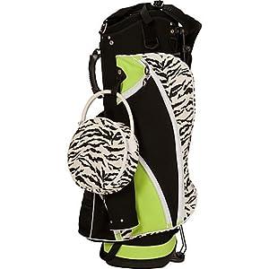 Sassy Caddy Ladies Zippy Golf Stand Bag, Lime Green Zebra Print Black by Sassy