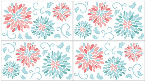 Baby and Kids Wall Decal Stickers for Turquoise and Coral Emma Floral Collection - Set of 4 Sheets (Coral Wall Decals compare prices)