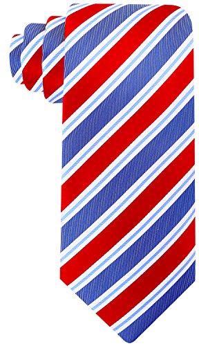 Scott Allan Mens 100% Silk Striped Necktie - Red/Slate Blue (Scott Allan Red Ties compare prices)