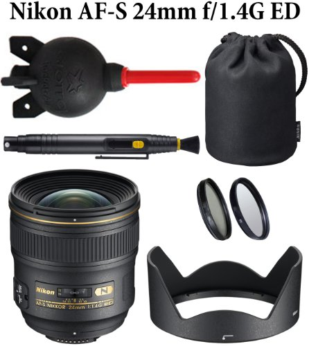 Nikon AF-S NIKKOR 24mm f/1.4G ED Lens + Nikon Lens Hood + Nikon Lens Case + Lens Pen + Giotto's Super Rocket Air Blower + Professional Multi-Coated 2pc Essential Filter Kit