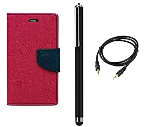 D'clair Combo of Flip Cover With Stylus and Aux Cable For Micromax A114 Canvas 2.2 Dark Pink