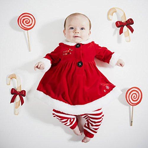 【ベビー(女の子)用/ベビー服】サンタ風ワンピース+ズボン クリスマスカラー 冬服 (100cm)
