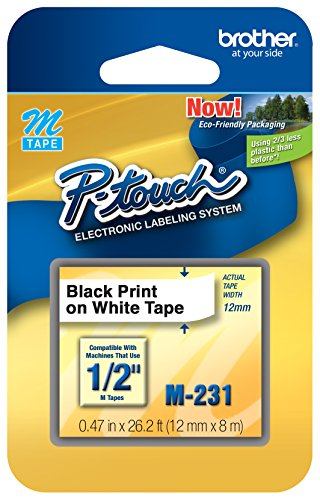 M231 1/2-Inch Black on White Tape for P-Touch Labeler (Brother M231 Tape compare prices)