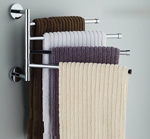 Bekith Wall-Mounted Stainless Steel Swing Bathroom Towel Rack Hanger Holder Organizer (4-Arm)