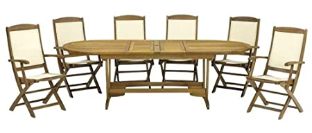 Royalcraft Edinburgh 6 Seater Dining Extending Set with Textalyne Armchairs