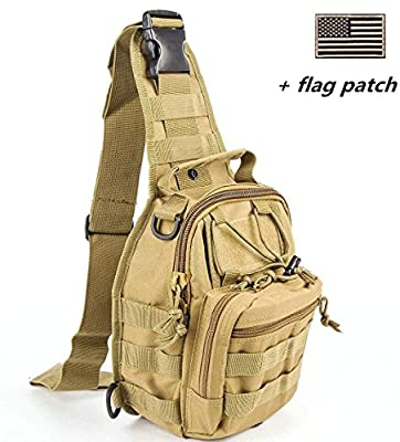 BX warehouseOutdoor Tactical Shoulder Backpack?+flag patch?, Military & Sport Bag Pack Daypack for Camping, Hiking, Trekking, Rover Sling,chest bag