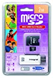 Integral 2GB MicroSD Card (with 2 adapters) + SD Slot In USB Reader
