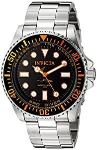 Invicta Men's 20120 Pro Diver Analog Display Swiss Quartz Silver Watch