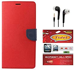 Tidel Premium Table Talk Fancy Diary Wallet Flip Cover Case for Samsung Galaxy J7 (Red) With Tidel Screen Guard & 3.5mm Handsfree Earphone