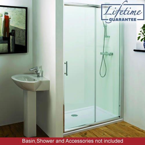 Trueshopping 1000mm Polished Silver Sliding Shower Door