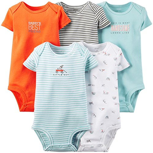 Carter's Baby Boys' 5 Pack Bodysuits (Baby) - Light Blue - 6M