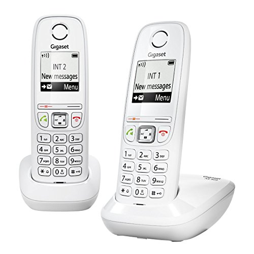 Gigaset AS405 Duo - Telefono fisso DECT/GAP, colore bianco