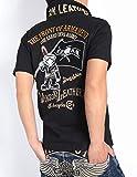 (バンソン) VANSON × クローズ ワースト コラボ ポロシャツ 武装戦線 T.F.O.A KKK デスラビット&フラッグ 刺繍プリント 半袖ポロシャツ CRV-608-BLACK (XXL, ブラック)