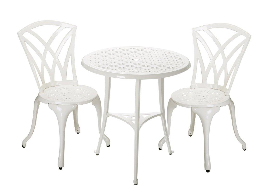 Bistrotisch mit 2 Stühlen in Gussaluminium, Weiß – Malaga kaufen