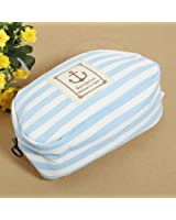 KINGSO Stripe Pencil Case Pouch Purse Cosmetic Makeup Bag Storage Student Stationery Zipper Wallet,Blue