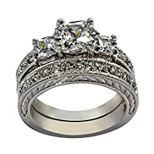 buy Cushion-Cut Vintage-Style With Milgrain Edging 4.46 Ct Cubic Zirconia Cz Bridal Engagement Wedding Ring Set (Cushion-Cut Center Stone Is 2 Cts) (8)