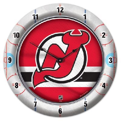 Roundclock New Jersey Devils 10 Inch Round Game Time Clock National Hockey League Hokey Nhl Sport Team University College Fan Accessories