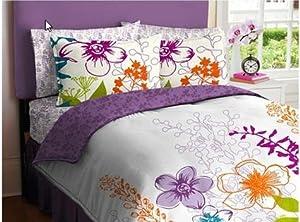 Purple, Green, Orange & White Girls Multi Flower Twin Comforter Set (5 Piece Bed In A Bag)