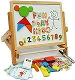 Caballete doble cara plegable de madera - con formas, alfabeto y números magnéticos