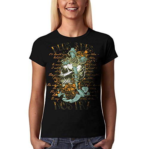 Wellcoda | Cursed Monster Skeleton Devil Womens NEW T-Shirt Black XS-2XL