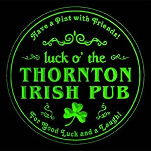 4x ccqv2263-g THORNTON Irish Pub St. Patrick's Shamrock Beer Bar Etched Engraved 3D Coasters