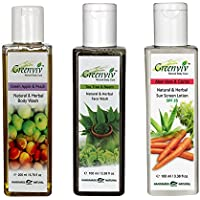 Greenviv Natural Combo Of Green Apple & Peach Body Wash (200 Ml), Tea Tree & Neem Face Wash (100 Ml) With Aloe-Vera...