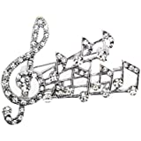Polished Silver Colour Metal Music Note Brooch With Clear Crystals