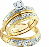 Men's Ladies 10k Yellow and White Gold .07 Ct Round Cut Diamond His Her Engagement Wedding Bridal Ring Set (ladies size 7, men size 10)