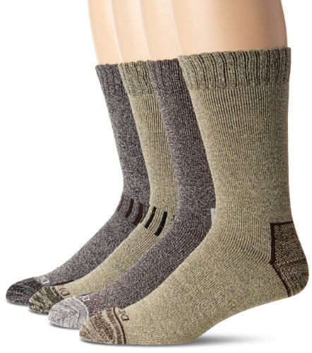 Dickies Men's 4 Pack All Season Marled Moisture Control Crew Socks, Brown Assortedment, 10-13 Sock/6-12 Shoe