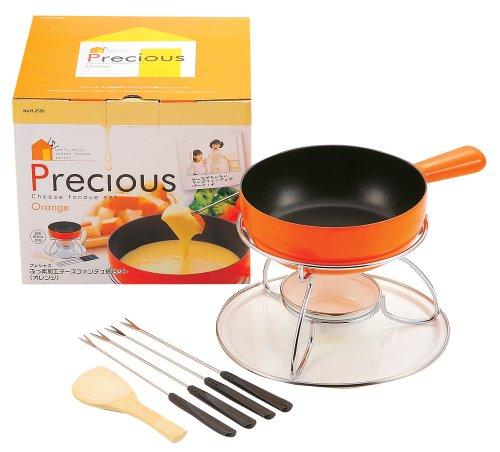 パール金属 プレシャス ふっ素加工 チーズフォンデュ鍋セット オレンジ H-2558
