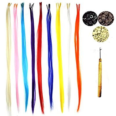 "Kisspat® 50 PCS Neon Mixed Colors Dip Dyed Highlight Synthetic Hair Extensions, Stick Tip 14-16"" Long With Installation Kits (Threading Hook + 100 Micro Beads)"