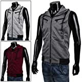 Allegra K Mens Mock Neck Sleeveless Two Pockets Zip Up Casual Hoodie Vest