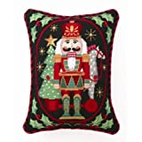 Christmas Nutcracker Soldier with Vintage Pull Toy Wool Throw Pillow 14 Inch X 18 Inch