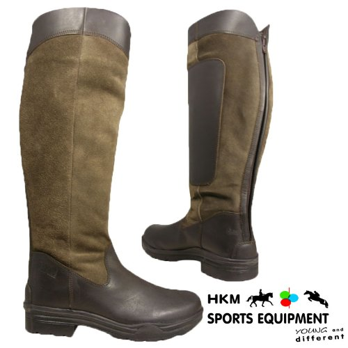 Ladies Leather Suede Hkm Brown Riding Yard Stylish Fashion Country Boots Size UK 4-8