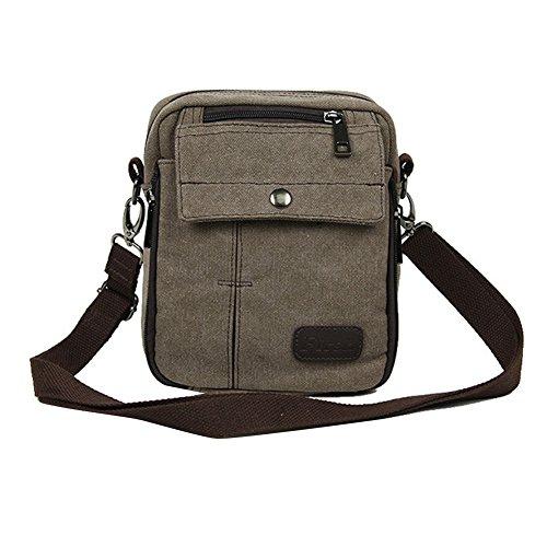 Neu Herren Damen Vintage Canvas Schultertasche Schultasche für Outdoor Canvas Leder Umhängetaschen Vintag Tasche Canvas Rucksack (Kaffee)