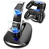Lee York Playstation 4 Charger PS4 PS4pro PS4slim Playstation Controller Charger Dual USB Charging Station Stand Docking Playstation (Color: black)